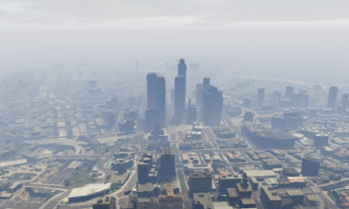 Los Santos from a helicopter on a smoggy day. (image: The in game camera phone, uploaded to socialclub.rockstargames.com)
