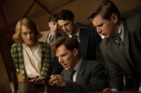 Benedict Cumberbatch and his team team of code crackers pour over the Enigma Machine in The Imitation Game (image: www.morapowah.com)